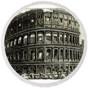 Round Beach Towel featuring the drawing 1810 Italian Etching Of The Ruins Of The Roman Colosseum Francesco Piranesi by Peter Gumaer Ogden