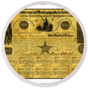 Round Beach Towel featuring the drawing 1841 Texas Bond Signed By David G Burnet President Of The Republic Of Texas by Peter Gumaer Ogden