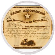 Round Beach Towel featuring the drawing 1844 Texas Association Stock Certificate For Pioneer Emigration To The Mercer Colony by Peter Gumaer Ogden