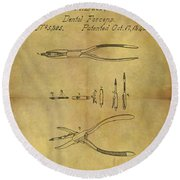 1848 Dental Forceps Patent Round Beach Towel by Dan Sproul