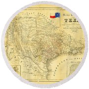 1849 Texas Map Round Beach Towel by Bill Cannon