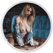 Round Beach Towel featuring the photograph 1867 by Traven Milovich