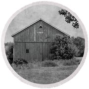 Round Beach Towel featuring the photograph 1869 Black And White by Kim Hojnacki
