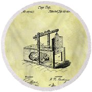 Round Beach Towel featuring the mixed media 1870 Mousetrap Patent by Dan Sproul