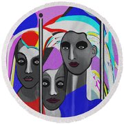 Round Beach Towel featuring the digital art 1875 - To Walk Tall by Irmgard Schoendorf Welch