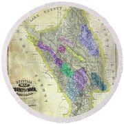 1876 Napa Valley Map Round Beach Towel