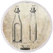 1877 Oil Drill Bit Patent Round Beach Towel