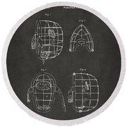 1878 Baseball Catchers Mask Patent - Gray Round Beach Towel