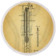 1878 Oil Well Round Beach Towel