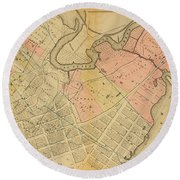 1879 Inwood Map  Round Beach Towel