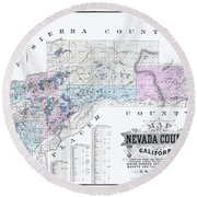 1880 Nevada County Mining Claim Map Round Beach Towel