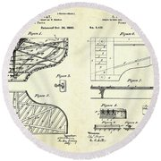 1880 Steinway Piano Forte Patent Art Sheets V2 Round Beach Towel