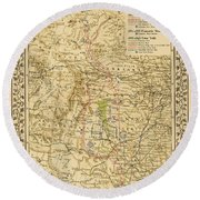 1881 Lonesome Dove Map Round Beach Towel
