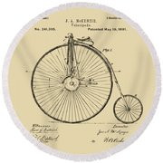 Round Beach Towel featuring the digital art 1881 Velocipede Bicycle Patent Artwork - Vintage by Nikki Marie Smith