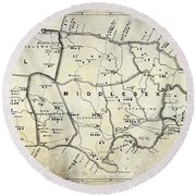 1882 Jamaica Map Round Beach Towel
