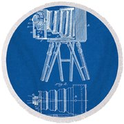 1885 Camera Us Patent Invention Drawing - Blueprint Round Beach Towel