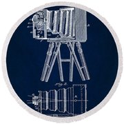 1885 Camera Us Patent Invention Drawing - Dark Blue Round Beach Towel