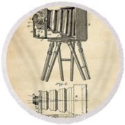 1885 Camera Us Patent Invention Drawing - Vintage Tan Round Beach Towel