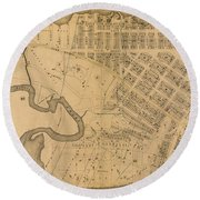 Round Beach Towel featuring the photograph 1885 Inwood Map  by Cole Thompson