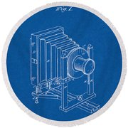1888 Camera Us Patent Invention Drawing - Blueprint Round Beach Towel