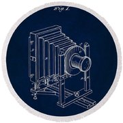 1888 Camera Us Patent Invention Drawing - Dark Blue Round Beach Towel