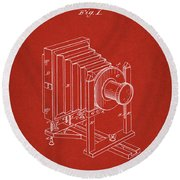 1888 Camera Us Patent Invention Drawing - Red Round Beach Towel