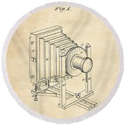 1888 Camera Us Patent Invention Drawing - Vintage Tan Round Beach Towel
