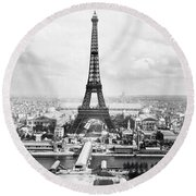 1889 Parisian Panorama Round Beach Towel