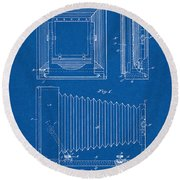 1891 Camera Us Patent Invention Drawing - Blueprint Round Beach Towel