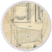 1891 Camera Us Patent Invention Drawing - Vintage Tan Round Beach Towel