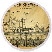 1893 Beer Brewery Patent Round Beach Towel