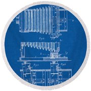 1897 Camera Us Patent Invention Drawing - Blueprint Round Beach Towel