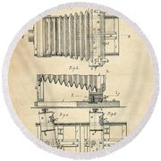 1897 Camera Us Patent Invention Drawing - Vintage Tan Round Beach Towel