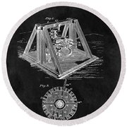 1897 Oil Well Rig Patent Design Round Beach Towel