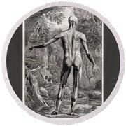 18th Century Anatomical Engraving Round Beach Towel