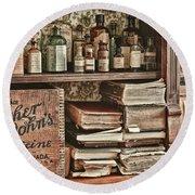 18th Century Pharmacy Round Beach Towel