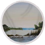 Round Beach Towel featuring the painting 19 Geese by Marilyn  McNish