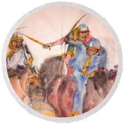 Round Beach Towel featuring the painting Il Palio Contrada  Lupa Album by Debbi Saccomanno Chan