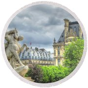 Round Beach Towel featuring the pyrography Paris by Yury Bashkin