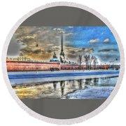 Round Beach Towel featuring the pyrography Peterburg by Yury Bashkin
