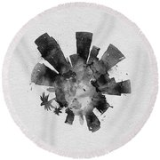 Black Skyround Art Of Los Angeles, United States Round Beach Towel