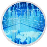 Round Beach Towel featuring the photograph Stock Market Concept by Setsiri Silapasuwanchai