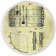 1900 Band Drum Patent Round Beach Towel by Dan Sproul