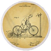 1900 Bicycle Exercise Stand Round Beach Towel by Dan Sproul