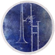1902 Trombone Patent Blue Round Beach Towel by Jon Neidert