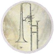 1902 Trombone Patent Round Beach Towel