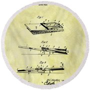 Round Beach Towel featuring the mixed media 1903 Mouse Trap Patent by Dan Sproul