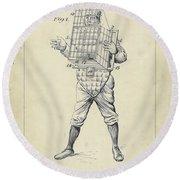 1904 Baseball Catcher Patent Round Beach Towel