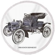 Round Beach Towel featuring the drawing 1906 Knox Model F 3 Surry by Jack Pumphrey