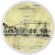 1907 Cotton Harvester Patent Round Beach Towel